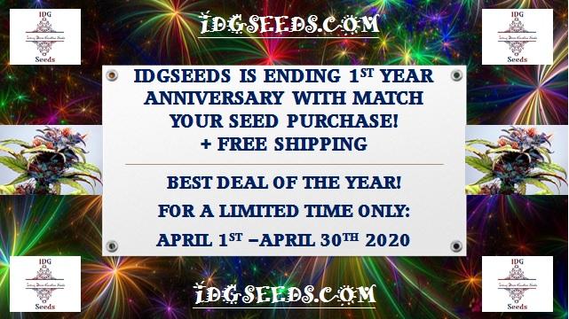 April 2020 IDGSeeds First Year Anniversary Sale!!!